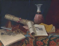 still life with vase and books by nicholas alden brooks