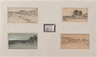 quatre paysages sur un même montage (4 works in 1 frame) by georges michel