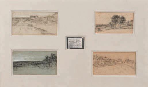 quatre paysages sur un même montage 4 works in 1 frame by georges michel