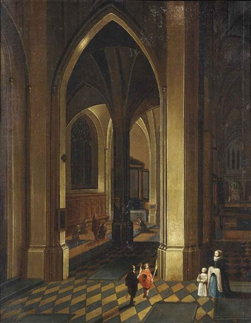 a church interior candlelit with elegant figures in the foreground by peeter neeffs the elder