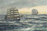 cutty sark leading shenandoah off the horn by henri louis scott