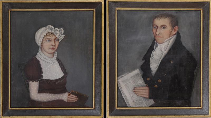 portrait of ashbel stoddard portrait of patience bolles stoddard pair by ammi phillips