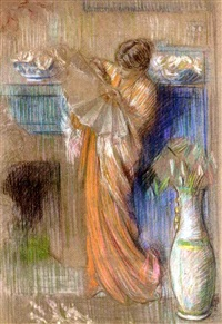lady with a fan by philip leslie hale