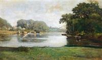péniche sur la rivière by françois edouard bournichon