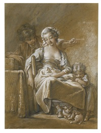 a young woman asleep in a chair accompanied by a small child and a cat, being tickled from behind by a young man with a straw by françois boucher