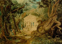 landscape with temple, dragon and figures by joseph michael gandy