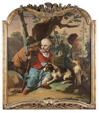 enfants jouant avec un chien devant des vignes by michele antonio rapous
