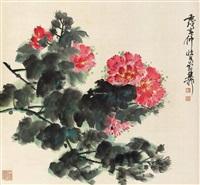 花卉 立轴 纸本设色 by xie zhiliu
