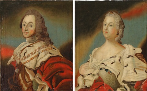 A Pair Of Portraits Of King Frederik V And Queen Louise By Carl
