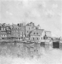 dock scene at honfleur by claude cambour