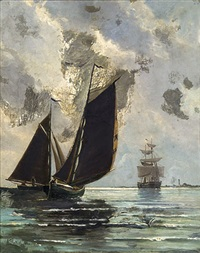 segler vor hiddensee by karl lorenz rettich