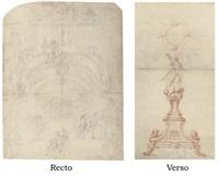 vue d'une foire avec une représentation théâtrale (+ projet pour un ostensoir, verso) by laurent hubert