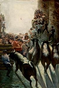 encierro en pamplona by lorenzo aguirre sanchez