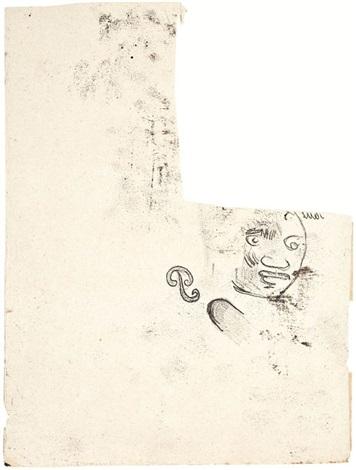 tête de femme des marquises et initiale p de l'artiste (recto-verso) by paul gauguin