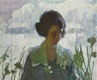 woman and flowers by gertrude fiske