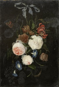 roses, convolvulus, honeysuckle and other flowers in a swag held with a blue ribbon by jan davidsz de heem