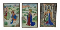 saint christopher (+ 2 others; 3 works from book of hours series) by flemish school-bruges (15)