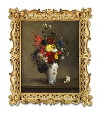 a still life of assorted flowers in a famillle rose vase by antoine vollon
