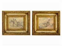 views of trimberg castle (2 works) by franz ludwig catel