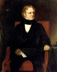 portrait of thomas richter seated in a black suit with paper in his right hand by henry william pickersgill