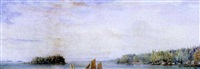 sailboats near a settlement, lake superior by william walton armstrong