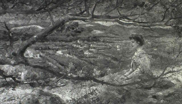 contemplative woman by henri rené gaume