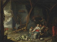 peasants in a barn interior by dirck wyntrack
