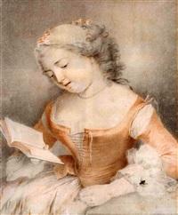une jeune femme lisant, une mouche posée sur sa manche by jacques-andré portail
