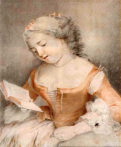 une jeune femme lisant une mouche posée sur sa manche by jacques andré portail