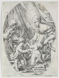 maria mit kind, der heiligen anna und johannesknaben (after e. sirani) by lorenzo loli