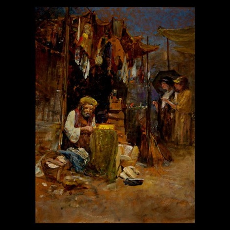 market scene by louis comfort tiffany