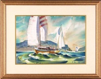 sailing scene by hugh duncan