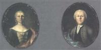 portrait einer adligen barock-frau mit zeitgenössischer, edler kleidung by jakob christian (christoph) seng