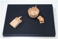 pack of cigarettes, matches and ashtray by fumio yoshimura