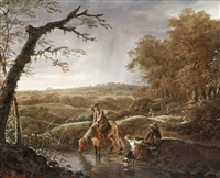 hunters at rest with a horse and dog near a stream by ludolf de jongh