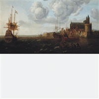 ships lying off a fortified coastal town by bonaventura peeters the elder