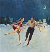 figure skater by moonlight by lawrence nelson wilbur