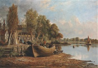 on the banks of the thames, near kew by jacob george strutt