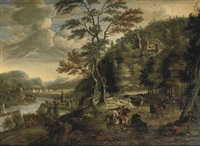 a mountainous river landscape with a cavalry skirmish by gerrit (gerard) battem