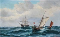 seascape with the frigate jutland and a few fishermen in their boats on open sea by vilhelm victor bille