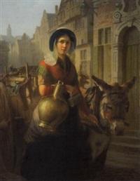 marchande et son âne allant au marché by august brasch