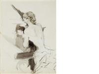 donna seduta, corsage blanc by giovanni boldini
