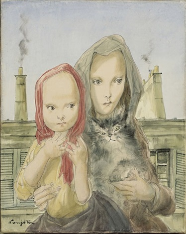 mother, child, and cat by léonard tsuguharu foujita