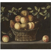 a still life with peaches and pears in a wicker basket together with plum branches, all on a stone ledge by spanish school-toledo (17)