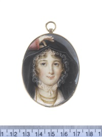 a lady, wearing vermilion dress, white lace fichu, black hooded cloak, gold hooped earrings and multi-stranded necklace, her brown hair curled and upswept beneath a white lace mob cap by louis marie autissier