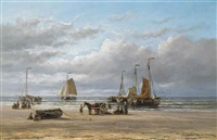 fishing boats on the beach at scheveningen by hendrik hulk