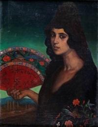 dama con abanico y mantilla by valentín de zubiaurre