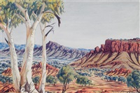 untitled (central australian landscape) by oscar namatjira