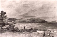 children playing on the beach at coogee by h. m. f. atcherley