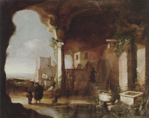 figures among italianate ruins by charles cornelisz de hooch